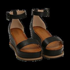 Sandali neri in eco-pelle, zeppa 6,50 cm , Scarpe, 154926113EPNERO035, 002 preview
