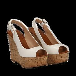 Sandali bianchi in eco-pelle, zeppa 12 cm , Scarpe, 154907982EPBIAN035, 002a