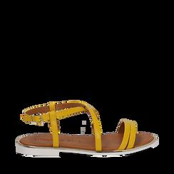 Sandali flat gialli in eco-pelle, Saldi Estivi, 136102003EPGIAL035, 001a