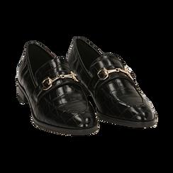 Mocasines negros con estampado de cocodrilo, Primadonna, 164964141CCNERO037, 002 preview