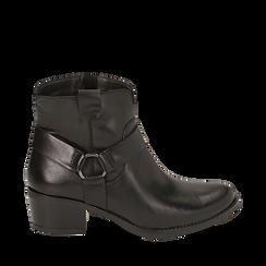 Camperos neri in pelle, tacco 5 cm , Scarpe, 141612598PENERO035, 001a