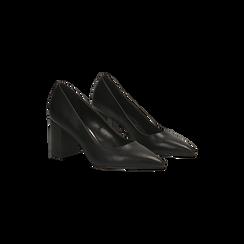 Décolleté nere con punta affusolata, tacco 7 cm, Scarpe, 128485162EPNERO, 002 preview