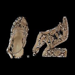 Sandali cage beige stampa pitone, tacco 10,5 cm, Primadonna, 152760843PTBEIG036, 003 preview