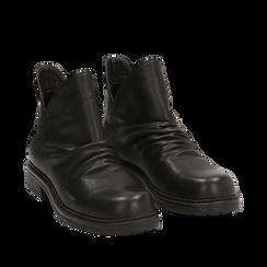 Biker boots flat neri in eco-pelle, Stivaletti, 140701515EPNERO036, 002a
