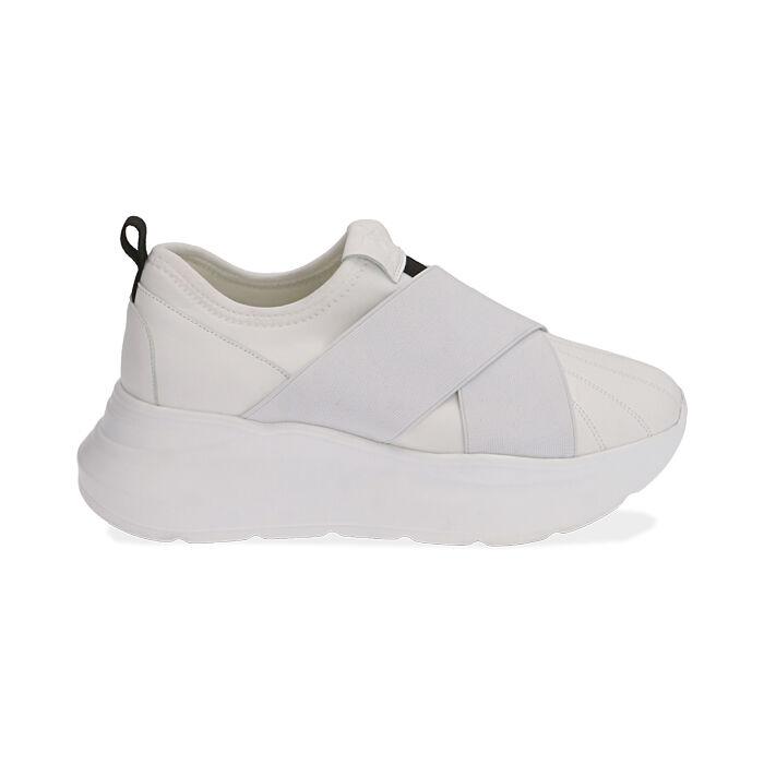 Sneakers bianche, zeppa 6 cm , Scarpe, 172832121EPBIAN035
