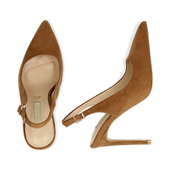 Slingback marroni in microfibra con punta affusolata, tacco stiletto 10 cm, Scarpe, 132120710MFMARR036, 003 preview