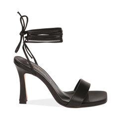 Sandali lace-up neri, tacco 9,5 cm , 17L800194EPNERO035, 001a