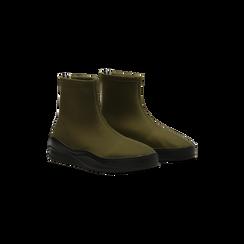 Sneakers verdi in lycra a calza con suola in gomma, Scarpe, 121740405LYVERD036, 002