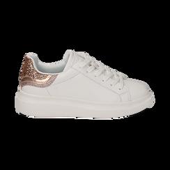 Sneakers bianco/rosa in eco-pelle con dettagli glitter , Sneakers, 152602011EPBIRA035, 001a