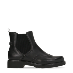 Chelsea Boots neri con lavorazione Duilio, Scarpe, 120800205EPNERO035, 001a