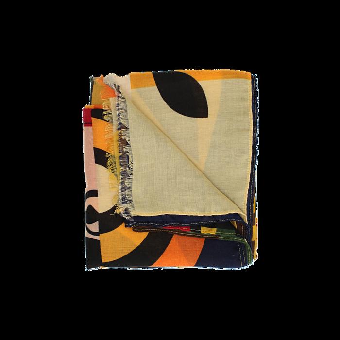 Pashmina gialla in tessuto con stampa Seventies, Abbigliamento, 14B491016TSGIALUNI