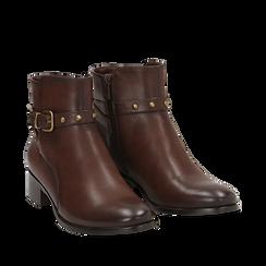 Ankle boots marroni in eco-pelle, tacco 4 cm , Scarpe, 143098118EPMARR036, 002a