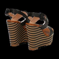Sandali platform neri in eco-pelle, zeppa rigata 13 cm , Primadonna, 134986213EPNERO035, 004 preview