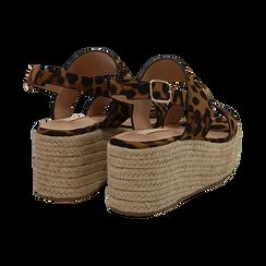 Sandali platform leopard in microfibra, zeppa in corda 7 cm , Saldi, 132708157MFLEOP035, 004 preview