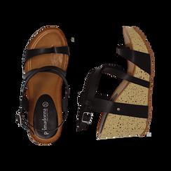 Sandali platform neri in eco-pelle, zeppa in sughero 9 cm , Primadonna, 134901921EPNERO036, 003 preview