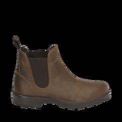 Chelsea boots testa di moro in pelle, Stivaletti, 14D500564PEMORO035, 001a