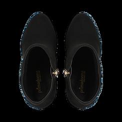 Tronchetti neri scamosciati con plateau, tacco 13,5 cm, Primadonna, 122138410MFNERO, 004 preview