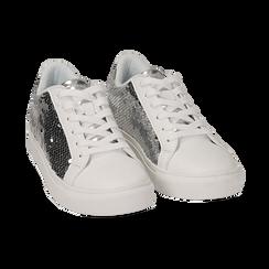Sneakers argento  con paillettes, Scarpe, 152602021PLARGE035, 002a