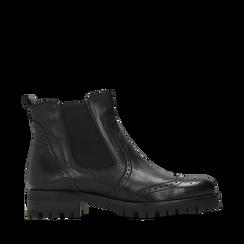 Chelsea boots neri in eco-pelle con lavorazione Duilio, Stivaletti, 140585755EPNERO035, 001a