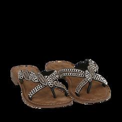 Ciabatte nere in raso con pietre, Chaussures, 15K808061RSNERO035, 002a