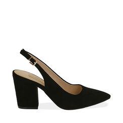 Slingback negro de microfibra, tacón 8,50 cm, Zapatos, 172183402MFNERO035, 001a