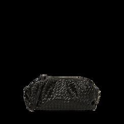 Maxi clutch nera intrecciata, GIFT IDEAS, 165122668EINEROUNI, 001a