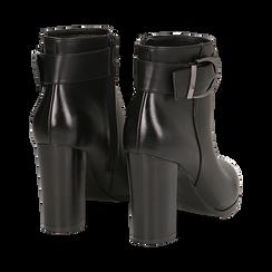 Ankle boots neri in eco-pelle, tacco 9,5 cm , Stivaletti, 143058705EPNERO036, 004 preview