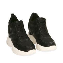 Sneakers nere, zeppa 4 cm , Primadonna, 182815552EPNERO035, 002a