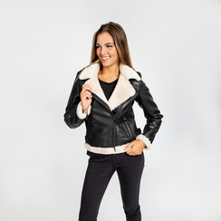 Giacca Aviator nera eco-montone, Abbigliamento, 126531151EPNERO3XL, 003