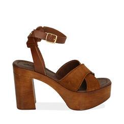 Sandales en daim cognac, talon de 10,5 cm, 174304899CMCOGN036, 001a