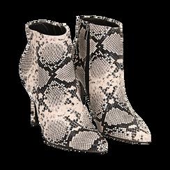 Ankle boots beige/neri effetto snake, tacco 11 cm , Stivaletti, 142182015PTBENE035, 002 preview