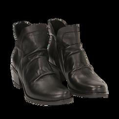 Camperos neri in pelle, tacco 5 cm , Scarpe, 141612461PENERO036, 002a