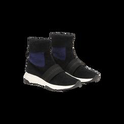 Sneakers nero-blu sock boots con suola in gomma bianca, Scarpe, 124109763TSNEBL, 002