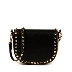 Tracolla nera in eco-pelle con borchie, Primadonna, 155122428EPNEROUNI, 001a