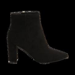 Ankle boots neri in microfibra, tacco 8,5 cm , Scarpe, 144925791MFNERO036, 001 preview