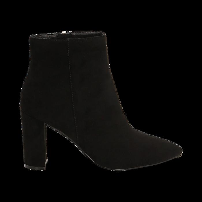Ankle boots neri in microfibra, tacco 8,5 cm , Scarpe, 144925791MFNERO036