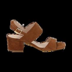 Sandali cuoio in camoscio, tacco chunky 6 cm, Primadonna, 13D602056CMCUOI036, 001 preview