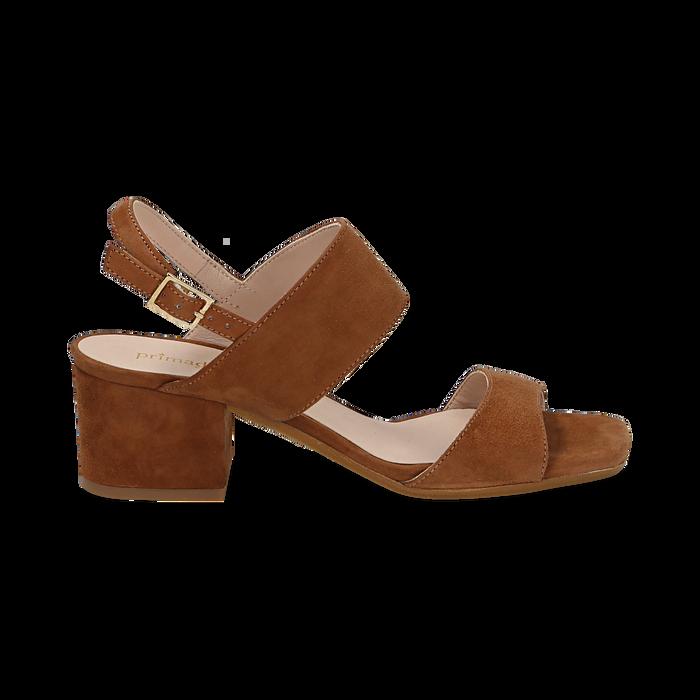 Sandali cuoio in camoscio, tacco chunky 6 cm, Primadonna, 13D602056CMCUOI036