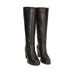 Bottes noir en cuir, talon 7 cm, 18L605077PENERO035, 002a