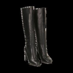 Stivali neri in eco-pelle, tacco 9 cm , Scarpe, 142182525EPNERO035, 002a