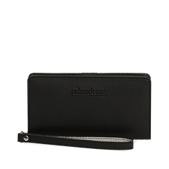 Portafoglio nero in eco-pelle con laccetto per il polso, Borse, 133723431EPNEROUNI, 001a