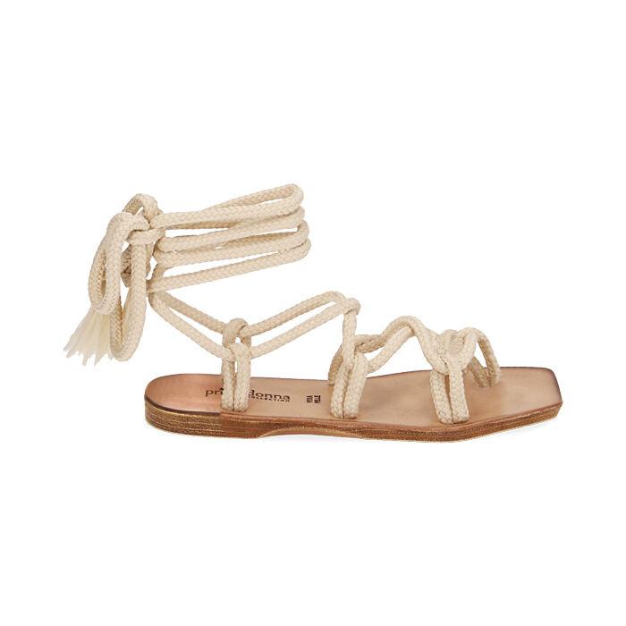 Sandalias de tejido color crema, Primadonna, 17A131482TSPANN035