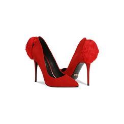 Décolleté rosse con pon-pon, tacco stiletto 11,5 cm, Scarpe, 122100530MFROSS, 005 preview