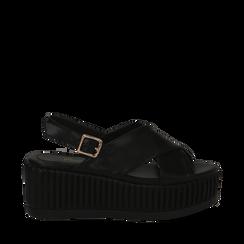 Sandali platform neri in eco-pelle, zeppa 7 cm , Primadonna, 132147651EPNERO035, 001a