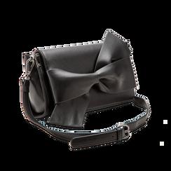 Tracolla nera in ecopelle con fiocco, Primadonna, 122323400EPNEROUNI, 003 preview