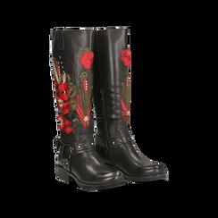 Stivali neri con ricami folk, tacco 3,5 cm, Scarpe, 122808626EPNERO, 002 preview