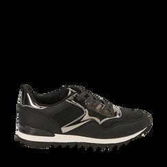 Sneakers nere glitter con dettagli effetto mirror, Scarpe, 142600107GLNERO036, 001a