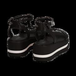 Sandali platform neri in eco-pelle, zeppa 5 cm , Primadonna, 132147513EPNERO035, 004 preview