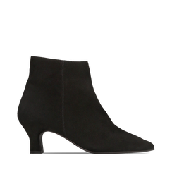 Tronchetti neri in vero camoscio, tacco a rocchetto basso 6 cm+, Primadonna, 127200154CMNERO037, 001a