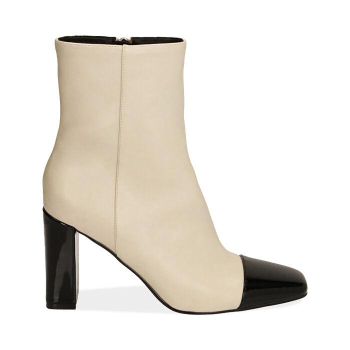 Ankle boots panna, tacco 8,5 cm , Primadonna, 184848302EPPANN035
